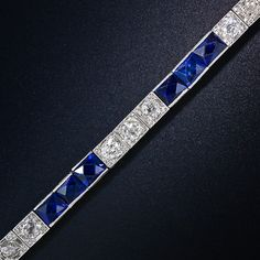 Vintage Art Deco Diamond and Synthetic Sapphire Bracelet