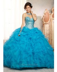 Quinceanera Dress #88089 All Over Beaded Bodice on a Ruffled Organza Skirt
