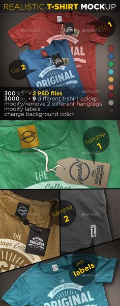 T-Shirt Mockup with Realistic Hangtag #design Download: http://graphicriver.net/item/tshirt-mockup-with-realistic-hangtag/12418751?ref=ksioks