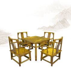 271 chinese rosewood table chair set - Five-piece casual short mandarin