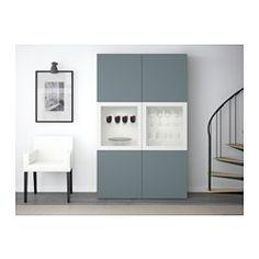 BESTÅ Storage combination w/glass doors, white, Valviken gray-turquoise clear glass white/Valviken gray-turquoise clear glass 47