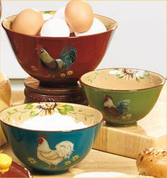 kitchen rooster crafts | Rooster Mixing Bowls Country Farm Kitchen Serving Bowls