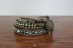 Green and Peach 3 Wrap Bracelet by FiveJJewelry on Etsy