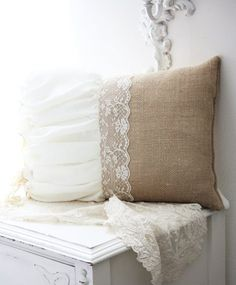 Burlap, linen, and lace pillow. Burlap Projects, Burlap Crafts, Diy Projects, Burlap Pillows, Sewing Pillows, Burlap Lace, Hessian, Linens And Lace, Home Remodeling