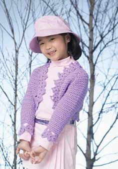 This crochet bolero has delicate picot edging for cute touch. Shown in Patons Astra.
