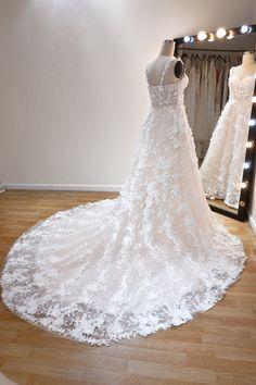 Custom Wedding Dress, Dream Wedding Dresses, Dress Silhouette, Spaghetti Strap Dresses, Floral Lace, Bridal Gowns, Tulle, Romantic, Floral Tie