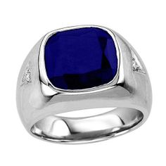 Men's Sapphire Ring In Sterling Silver with Genuine Diamonds from Naomis & Co on OpenSky