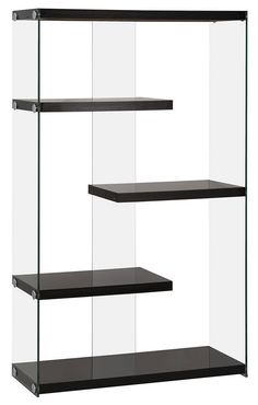 Contemporary Black Wood Glass Bookcase Wooden Furniture