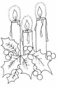 patrones para pintar de navidad   02.- Dibujos de Navidad Símbolos de Navidad Velas de Navidad