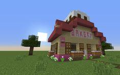 Super cute bakery!!!!!!!!!! Minecraft Bakery, Minecraft Stores, Cute Minecraft Houses, Minecraft House Tutorials, Minecraft Plans, Minecraft City, Minecraft House Designs, Minecraft Construction, Minecraft Tutorial