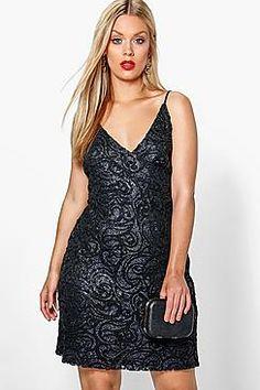 Plus Tia Lace + Sequin Wrap Top Bodycon Dress