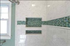 double shower niche with decorative tile Shower Accent Tile, Tile Shower Niche, Bathroom Niche, Guest Bathrooms, Bathroom Renos, Dream Bathrooms, Small Bathroom, Tiled Bathrooms, Concrete Bathroom