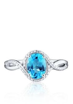 Belk  Co.  Blue Topaz and Diamond Accent Ring in Sterling Silver