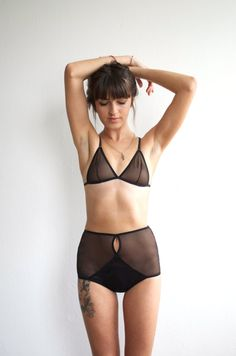 See through black lingerie set with crossover by NAHINAshop