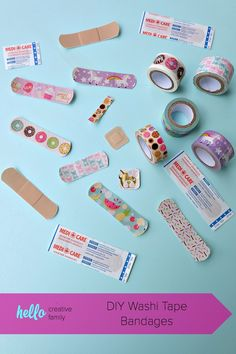 DIY Washi Tape Bandages are so easy to make! All you need is washi tape, scissors and a box of Bandaids! A fun craft project that kids will love! Hello Family, Washi Tape Diy, Party Activities, Band Aid, Cute Crafts, Diy Fashion, Easy Diy, Craft Projects, Eyes Emoji