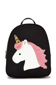 A structured mini backpack featuring a unicorn graphic with faux fur and metallic details, a top handle, adjustable shoulder straps, a zipper compartment and two interior slip pockets.