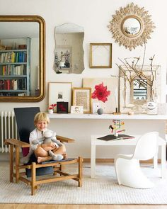 kids desk under very grown up console/vingnette (great mirror reflection)