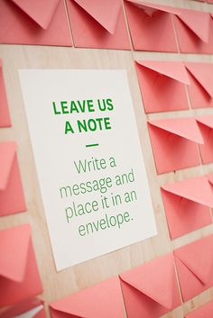 Love this idea: Leave a note for the happy couple to read afterwards and keep forever!