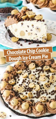 Chocolate Chip Cookie Dough Ice Cream Pie is oh so delicious! This easy no bake dessert has an Oreo crust, no churn vanilla ice cream filled with edible cookie dough and mini chocolate chips! #chocolatechipcookiedoughicecream #icecreampie #icecreampierecipe #nobakedessert Easy No Bake Desserts, Frozen Desserts, Dessert Recipes, Dessert Ideas, Best Desserts, Pie Dessert, Summer Desserts, Frozen Treats, Make Chocolate Chip Cookies