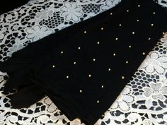 Extra Long Black Gloves Gold Studded Women's by SweetAngelVintage