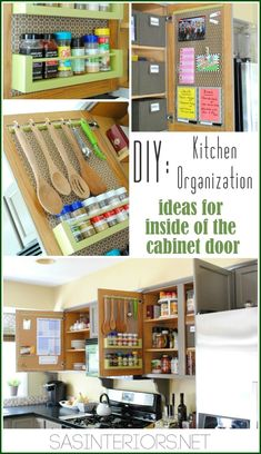 Kitchen organization ideas for the inside of cabinet doors storage on cabinets by jenna_burger Kitchen Organization, Organization Hacks, Kitchen Storage, Organizing Ideas, Organized Kitchen, Diy Cabinet Door Storage, Organization Station, Household Organization, Storage Cabinets