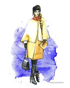 Fashion illustration of street style from MBFW SS15 #fashionsketch #fashionstyle #fashionblogger #fashionillustration #streetstyle