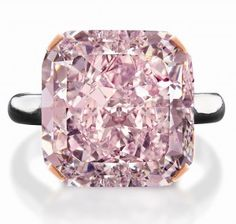 Just because it's so stunning.  This 10-carat fancy light purplish-pink diamond is radiant cut with SI1 clarity.  The pink diamond originated from a rare rough stone of 21.35 carats found in a South African mine, making it one of the largest pink diamonds ever mined. It was displayed recently by Canadian Jeweler Brinks with a price tag of $2,252,000.
