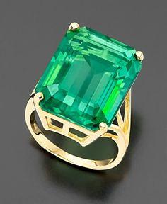 14k Gold Green Topaz Emerald-Cut Ring