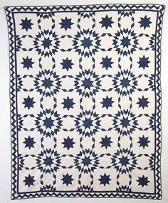 "Touching Stars Quilt: Circa 1880; OhioThis indigo and white Touching Stars Quilt has it all. The primary stars and those in the off blocks combine to give the effect of fireworks. The zig zag is the ideal choice for the border treatment. The quilt measures 70"" x 86""; is in excellent condition and nicely quilted."