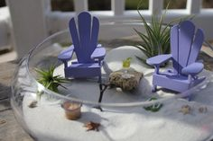 Miniature Beach Vacation with a Tiny Shovel and Sand Bucket - Jimmy Buffett style Adirondack Chairs.