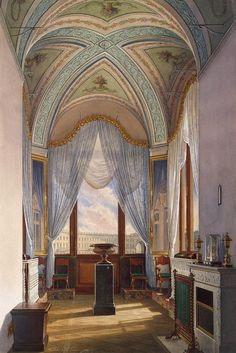 Interiors of the Winter Palace. The Room with a Bay Window by Edward Petrovich Hau - Interiors, Architecture Drawings from Hermitage Museum