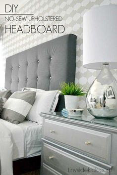 DIY Upholstered Headboard With Tufting! - Robbi Berka - DIY Upholstered Headboard With Tufting! DIY no sew upholstered headboard tutorial - Headboards For Beds, Home Decor Bedroom, Bedroom Diy, Diy Headboard Upholstered, Diy Bed Headboard, Bedroom Design, Upholstered Headboard, Remodel Bedroom, Home Decor