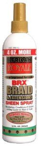 African Royale Braid And Extension Sheen Spray Case Pack 12 African Royale Braid And Extension Shee by DDI. $114.00. Please refer to SKU# ATR22928451 when you inquire.. Brand Name: DDI Mfg#: 816163. Shipping Weight: 12.00 lbs. Picture may wrongfully represent. Please read title and description thoroughly.. This product may be prohibited inbound shipment to your destination.. African Royale Braid And Extension Sheen Spray. Soothes the itching often associated with braids, weaves ...