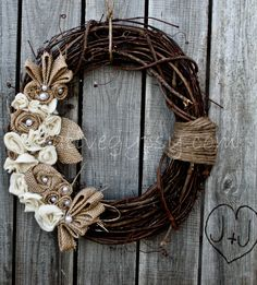 Rustic Burlap, Ivory and Jute Wreath LOVE this so much.