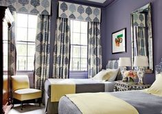 bedroom interior design with twin bedroom Purple Bedroom Design, New York Townhouse, Discount Bedroom Furniture, Purple Rooms, Purple Walls, Into The West, Traditional Bedroom Decor, Celebrity Houses, Architectural Digest