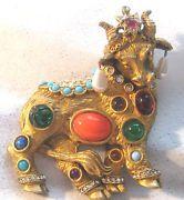"Early K.J.L. Kenneth Jay Lane "" Jewels Of Fantasy – Bull "" Jeweled Brooch Pin"