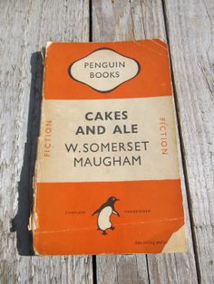 Vintage Orange PENGUIN CLASSIC Paperback book from 1949 - Cakes and Ales by W Somerset Maugham