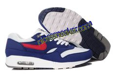 Save Up To 62% Mens Nike Air Max 1 White Gym Red Thunder Blue Medium Grey     #Blue #Womens #Sneakers
