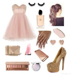 """High school prom "" by larissa-bens on Polyvore featuring mode, Salvatore Ferragamo, Urban Decay, Anoushka G, Giorgio Armani, Guerlain, Michael Kors, women's clothing, women en female"