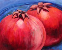 Original oil painting pomegranate TWO POMEGRANATES, oil on canvas by Elisaveta Sivas, still life, fruit, 19,7 x 23,6' (50 x 60 cm)