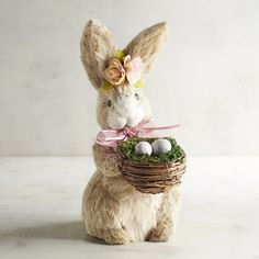 Pier 1 Imports Fiona Natural Bunny With Flower Garland & Basket ($9.71) ❤ liked on Polyvore featuring home, home decor, holiday decorations, easter home decor, pier 1 imports, rabbit home decor, flower stem and flower home decor