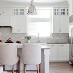 White Cabinets with Gray Quartz Counters