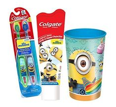 Despicable Me Minions 4pc Bright Smile Oral Hygiene Set! (1) Minion 2pc Soft Manual Toothbrush Value @ niftywarehouse.com