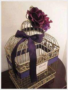 purple place card holders | Wedding Ideas, Champagne Bird Cage Wedding Card Holder With Deep ...
