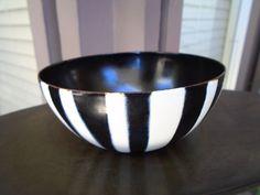 """Vtg Modern Cathrineholm Enamel Black & White Striped Enamelware Bowl 4"""" wide 2""""T #Catherineholm"""