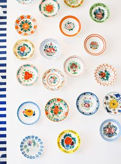 Beautiful wall of painted plates