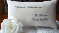 North and South-Elizabeth Gaskell Miniature Pillow-Mr Thorntons Hope-Look Back at Me-Black Toile