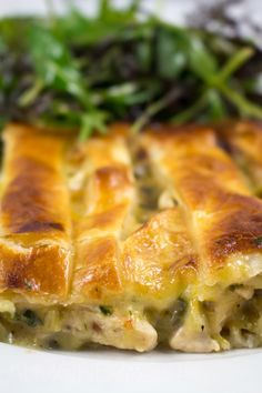 Chicken, Leek and Brie Pie - Comfort food never tasted so good with leeks cooked to a sweet caramelized state, mixed with chunks of juicy chicken pieces! Turkey Recipes, Chicken Recipes, Recipe Chicken, Chicken And Leek Pie, Savoury Baking, Savoury Pies, Savory Tart, Easy Pie, Empanadas