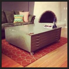 Industrial coffee table - blueprint filing cabinet in castors