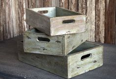 Vintage Inspired Fruit Crates, Set of 3 - From Antiquefarmhouse.com - http://www.antiquefarmhouse.com/current-sale-events/farmhouse16/vintage-inspired-fruit-crates-set-of-3.html